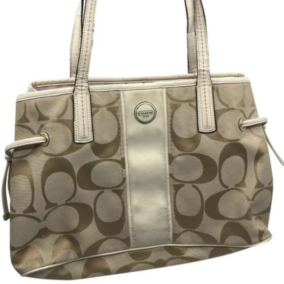 Coach Handbags - Coach Tan Cream Medium Fabric Shoppers Tote Bag
